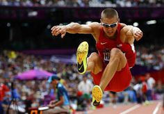 Trey Hardee of the U.S. competes in the Men's Decathlon long jump event at the London 2012 Olympic Games.