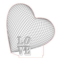 Big heart love 3d illusion lamp plan vector file for CNC - 3bee-studio