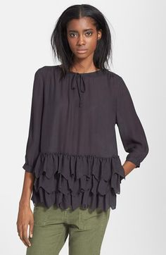 The Great 'The Frill' Tiered Silk Georgette Tunic Top available at #Nordstrom