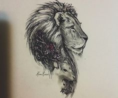 lion and lamb tattoo. Would love this but with the lion looking up Leo Lion Tattoos, Body Art Tattoos, New Tattoos, Tattoos For Guys, Sleeve Tattoos, Cool Tattoos, Tatoos, Lion Drawing Simple, Simple Lion Tattoo