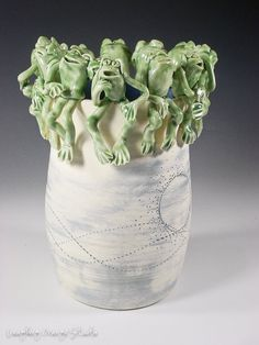 Frog Circle of Friends Vase by laughingorangestudio