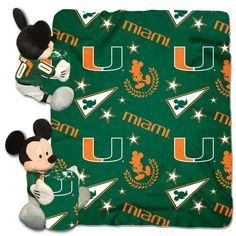"Miami College - Disney 40X50 Fleece Throw W/ 14"" Plush Mickey Hugger"