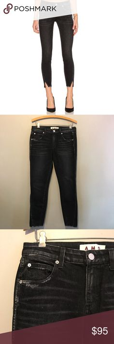 """AMO Twist Ink Black Distressed Skinny Denim Jeans Excellent condition with intentional distressing throughout!  Measurements: Waist: 15.5"""" Rise: 9"""" Inseam: 27"""" Leg Opening: 5""""  *C10 AMO Jeans Ankle & Cropped"""