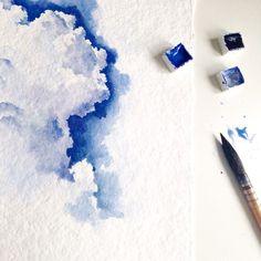 No photo description available. Watercolor Clouds, Watercolor Landscape, Watercolor Illustration, Watercolour Painting, Painting & Drawing, Cloud Drawing, Watercolor Water, Watercolor Techniques, Art Techniques