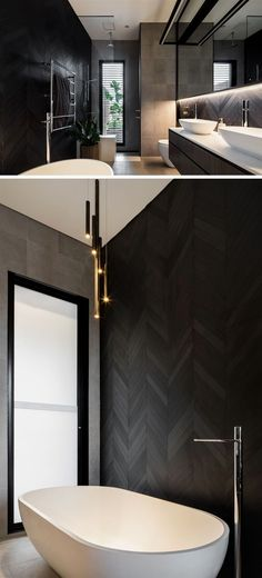 This modern bathroom has a dark chevron patterned wall behind the freestanding b. This modern bathroom has a dark chevron patterned wall behind the freestanding b. Modern Bathroom Design, Bathroom Interior Design, Interior Design Living Room, Bathroom Designs, Bathroom Ideas, Kitchen Design, Bathroom Renovations, Decorating Bathrooms, Bathroom Organization
