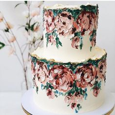 Oh My Word 🤍 When fine art, oil painting meets wedding cake taste sensation. I bring you this two-tier buttercream iced cake of dreams. Repost from Cake but make it art 🎨 📸 & 🍰: As seen on : Pretty Cakes, Beautiful Cakes, Amazing Cakes, Wilton Cake Decorating, Decorating Tips, Wilton Cakes, Cupcake Cakes, 3d Cakes, Fondant Cakes