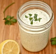 This whole jar of ranch is only 1.75 grams of fat and 255 calories!  1 cup dannon oikos plain greek yogurt  1 packet hidden valley ranch mix  1/2 cup 1% milk  Whisk together, chill 1 hour before use. Perfect consistency and tastes better than bottled!