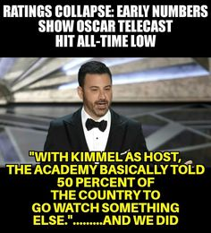 """What a fucking idiot Jimmy Kimmel is! The """"jokes"""" are old and not funny give it up!"""