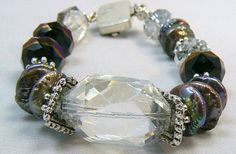 Pearl Crystal Bracelet Chunky Jewelry by PinkBisou on Etsy, $39.00