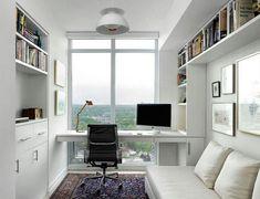 escritorio. biblioteca alta. escritorio vidrio.  blanco mucha luz.