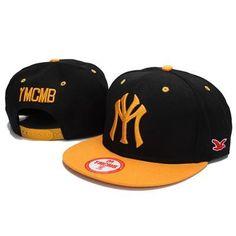 YMCMB NY Snapback Hats - Black Yellow