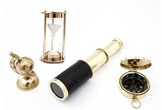 Nautical Solid Brass Vintage Special Gift Set Globe  Telescope  Compass  Hourglass ** Visit the image link more details.