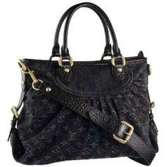 Louis Vuitton Monogram Denim Canvas Neo Cabby GM Black Handbag M95352   M95352-11257  9de2efe7bc