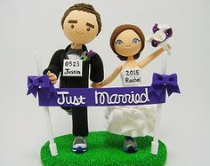 Marathon runners with dog Custom wedding cake topper by Clayphory
