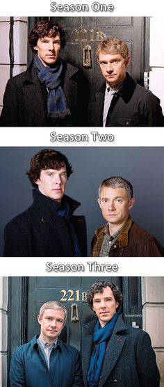 Sherlock and John series 1-3  They smile just a wee bit more each series.