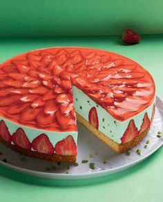 Strawberry-Waldmeister-Torte Un pastel veraniego con una crema Waldmeister y . - Rezepte- Kuchen und Torten // Recipes Cakes and Pies - Pastel de Tortilla Baking Recipes, Cake Recipes, Dessert Recipes, Dessert Blog, Cakes Originales, Torte Recipe, Summer Cakes, Food Cakes, Cookies