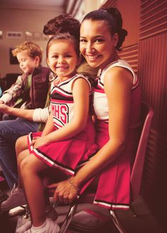 Santana Lopez and little Santana Lopez! (and little Finn in the background)