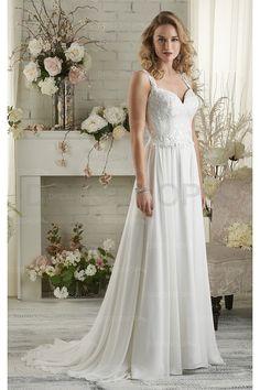 Exquisite Beach Court Train Natural Chiffon Wedding Dresses - A-line Wedding Dresses - Wedding Dresses - Dresshop.com.au