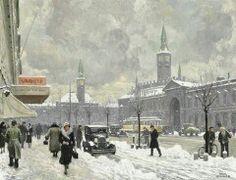 Paul Fischer Ca. 1925 Travl vinterdag på Vesterbrogade  ved det gamle Industriens Hus 58x74cm