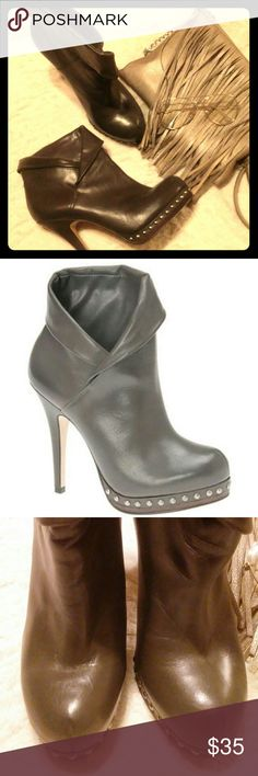 Aldo Grey Zinke Booties Chic with an edge.... Dark grey booties with studded detailing around the front of the sole. Perfect to spice up a pair of leggings, jeans, or tunic with tights as the temperature gets cooler. Poshfully worn only three times. Aldo Shoes Ankle Boots & Booties