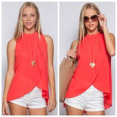 Wrap high neck top Color: tomato; polyester Tops Blouses