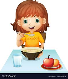 A little girl eating her breakfast Royalty Free Vector Image Quiet Time Activities, Creative Activities For Kids, Preschool Activities, Chores For Kids, Math For Kids, Art Drawings For Kids, Drawing For Kids, Les Microbes, Clown Crafts