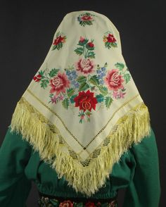 Polish Folk Costume embroidered kerchief from Lowicz.