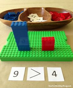 Playful learning with Lego math games. What a simple and fun way to learn math concepts lernen Math Games, Learning Activities, Kids Learning, Activities For Kids, Maths Fun, Counting Games, Montessori Activities, Indoor Activities, Fun Games