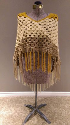 granny square half poncho with tassels by yarnoverbycally on Etsy