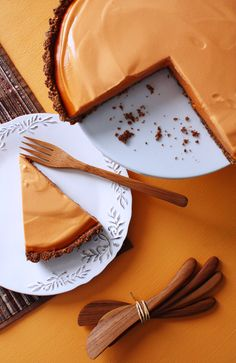 Thai Tea Cheesecake from The Heart of the Plate by Mollie Katzen http://shesimmers.com/2013/10/thai-tea-cheesecake-chocolate-crumb-crust-heart-plate-tribute-mollie-katzen.html