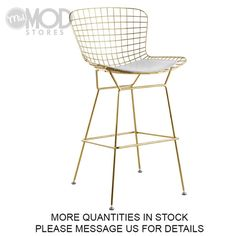 Bertoia wire counter stools is constructed with the highest quality materials and workmanship. Bertoia counter stools comes with a seat pad. Wire Bar Stools, Gold Bar Stools, Modern Bar Stools, Counter Stools, Bar Counter, Kitchen Stools, Wire Dining Chairs, Industrial Dining Chairs, Bar Chairs