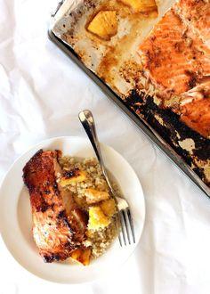 brown sugar honey marinated salmon with pineapple quinoa