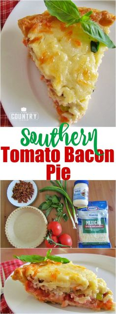 Southern Tomato and Bacon Pie recipe from The Country Cook Country Tomato and Bacon Pie is comfort food at its finest. Fresh tomatoes with layers of cheese and bacon all baked in a yummy pie crust! Quiches, Empanadas, Bacon Pie, Bacon Bacon, Jalapeno Bacon, Great Recipes, Favorite Recipes, Easy Recipes, Easy Meals