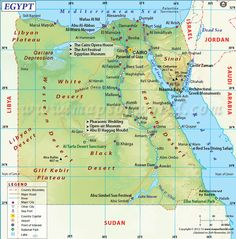 Egypt Map - Explore map of Egypt, a transcontinental country located in North Africa. Egypt is bordered by Libya to the west, the Sudan in south and the Gaza Strip and Israel to the east. Desert Sahara, Egypt Map, Site Archéologique, Country Maps, Giza, Study Materials, North Africa, Countries Of The World, Cairo