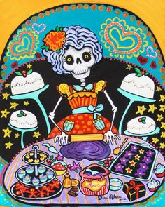 Pastry Chef Calavera Mexican Folk Art Print from Painting Christmas Cake Bakery Sweet Shop Poster on Wanelo