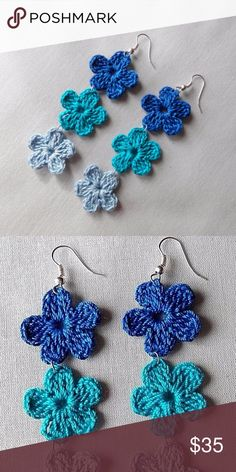 New Blue Ombre Boho Handmade Flower Earrings Original and handmade in the USA by a very talented local artist.  Blue bohemian ombre flower drop earrings, perfect for summer.  Crochet is trending right now, yet these are very retro, very hippie/70s chic!  Amazing to rock with your spring and summer wardrobe, these gorgeous earrings are versatile and are perfect with blue jeans or dressed up with other blue hues.  A must-have! Handmade Jewelry Earrings