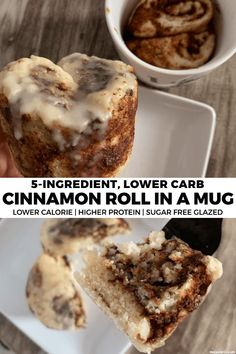 This GIANT cinnamon roll in a mug is going to blow your mind! It uses a This GIANT cinnamon roll in a mug is going to blow your mind! It uses a dough and cinnamon sugar spread to create a simple, lower carb, lower calorie cinnamon roll fix. Low Carb Desserts, Low Carb Recipes, Dessert Recipes, Low Calorie Sweets, Healthy Mug Recipes, Protein Recipes, Healthy Mug Cakes, Easy Keto Dessert, Single Serve Desserts