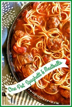 One Pot Spaghetti and Meatballs is an easy recipe that cooks pasta and homemade meatballs together in a delicious tomato sauce in just one skillet. Supper Recipes, Easy Pasta Recipes, Spaghetti Recipes, Side Dish Recipes, Delicious Recipes, Tasty, Easy To Cook Meals, One Pot Meals, How To Cook Pasta