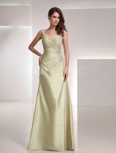 Shaping Sage Taffeta Elegant Mother of The Bride Dress - Milanoo.com
