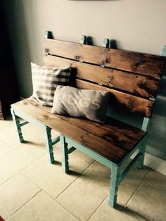 Farm bench decor made out of two old chairs