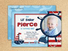 Items similar to Lil Sailor Birthday Invitation on Etsy Sailor Birthday, Sailor Party, 1st Birthday Parties, Birthday Ideas, 1st Birthday Invitations, Nautical Theme, First Birthdays, Rsvp, Handmade Gifts