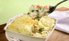 Arroz de forno com legumes e queijo