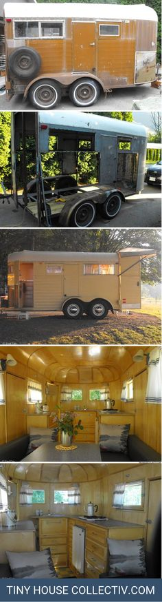 Horse Trailer Turned Camper Horse Trailer Turned Camper A horse trailer that 39 s been remodelled into a cozy little tiny house on wheels Horse Trailer Turned Camper A horse trailer that 39 s been remodelled into a cozy little tiny house on wheels Tyni House, Tiny House Living, Living Room, Glamping, Kombi Trailer, Trailers, Camping Trailer Diy, Diy Camping, Camping Hacks