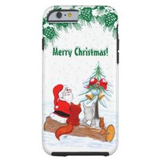 Santa Claus with Rabbit Fox and Squirrel  #NEW #Christmas #iPhone6 #Case by Krisi ArtKSZP on Zazzle