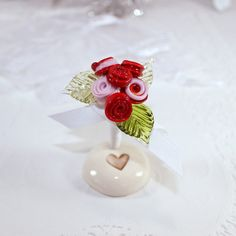 Red and pink roses Valentines day tiny flower by elisethomas, $32.00