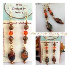 Unique Earthy River Creek Jasper Orange Swarovski Handmade Earrings