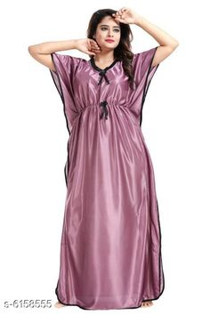Checkout this latest Nightdress Product Name: *Women Satin Nightdress* Fabric: Satin Sleeve Length: Short Sleeves Pattern: Solid Multipack: 1 Sizes: Free Size (Bust Size: 40 in, Length Size: 52 in)  Country of Origin: India Easy Returns Available In Case Of Any Issue   Catalog Rating: ★3.8 (15697)  Catalog Name: Women Satin Nightdresses CatalogID_938165 C76-SC1044 Code: 642-6158555-735