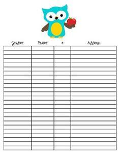Quick class information sheet....