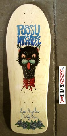 "The title of today's Featured Deck says it all. ""Pussy Massacre,"" designed by Brian Scott, feels like a throwback graphic that definitely fits the old school shape on which it's been donned. See more from Brian at www.MoreShiny.com.    www.BoardPusher.com skate skateboard skateboards skateboarding sk8 art artist DIY"