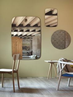 Les brothers, a serie of wall mirrors, designed with soft, clear and pure lines and decorated with a wooden detail that allow to fix them on the wall. Available on >> http://www.malfattistore.it/en/product/les-brothers/ #malfattistore #italiandesign #miniformsdesign #mirror #homedecor #modernfurniture #shoponline